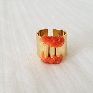 Jewelry - Goldtone Ring, Adjustable with Orange Fringe